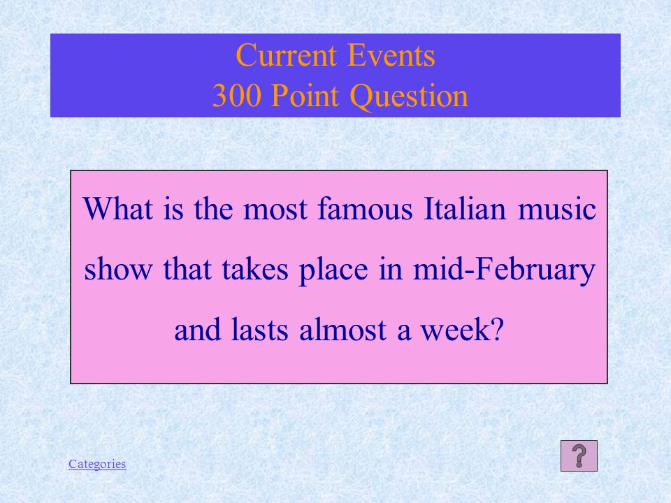 Categories An opera singer Current Events 200 Point Answer