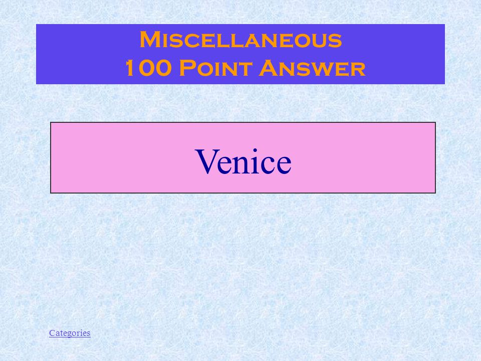 Categories Where is the most popular Carnival parade held Miscellanous 100 Point Question