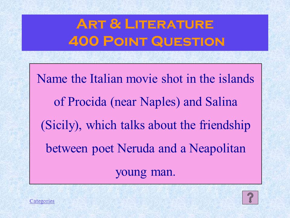 Categories Art & Literature 300 Point Answer St. Francis of Assisi