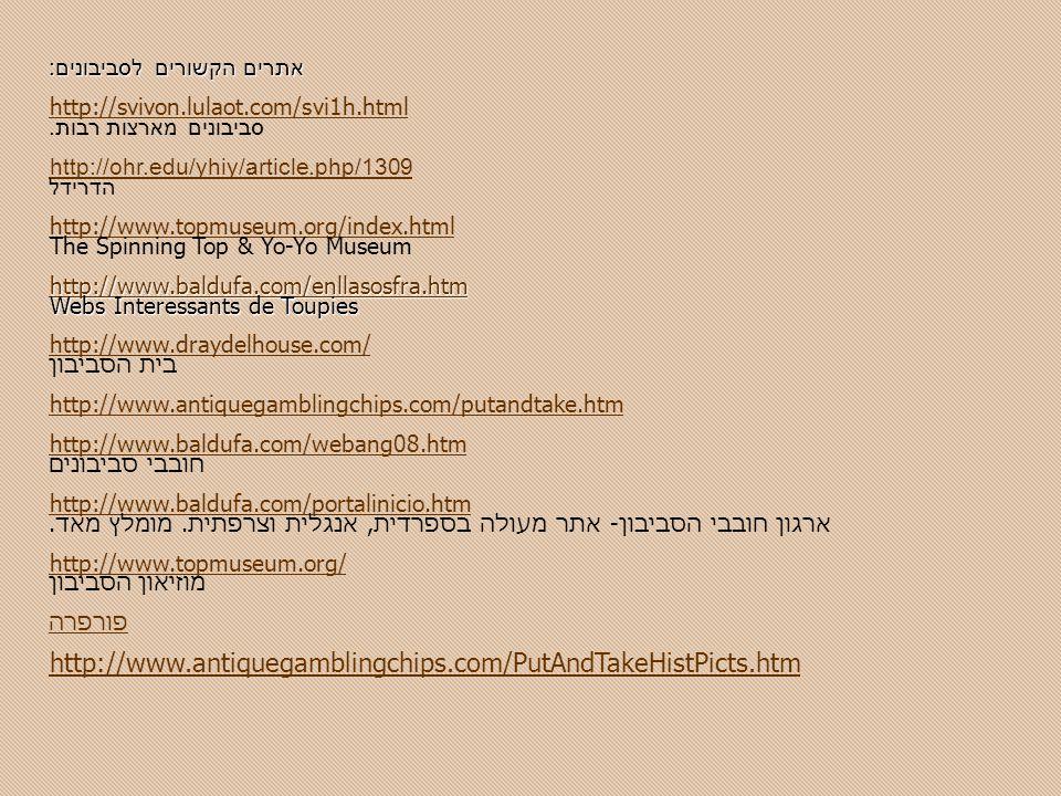 אתרים הקשורים לסביבונים: http://svivon.lulaot.com/svi1h.html סביבונים מארצות רבות.