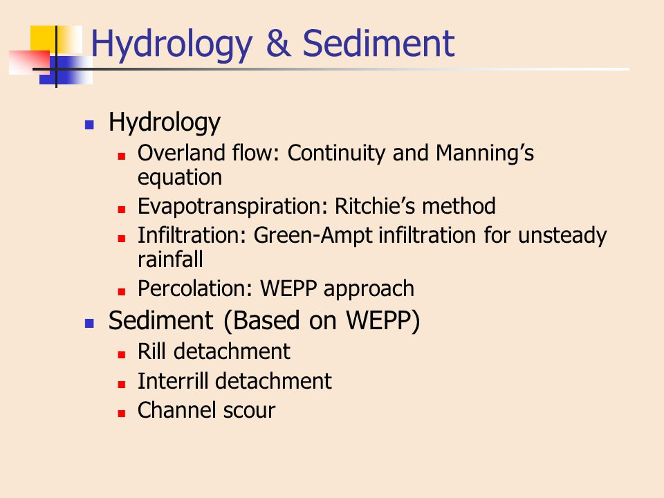 Hydrology & Sediment Hydrology Overland flow: Continuity and Manning's equation Evapotranspiration: Ritchie's method Infiltration: Green-Ampt infiltra
