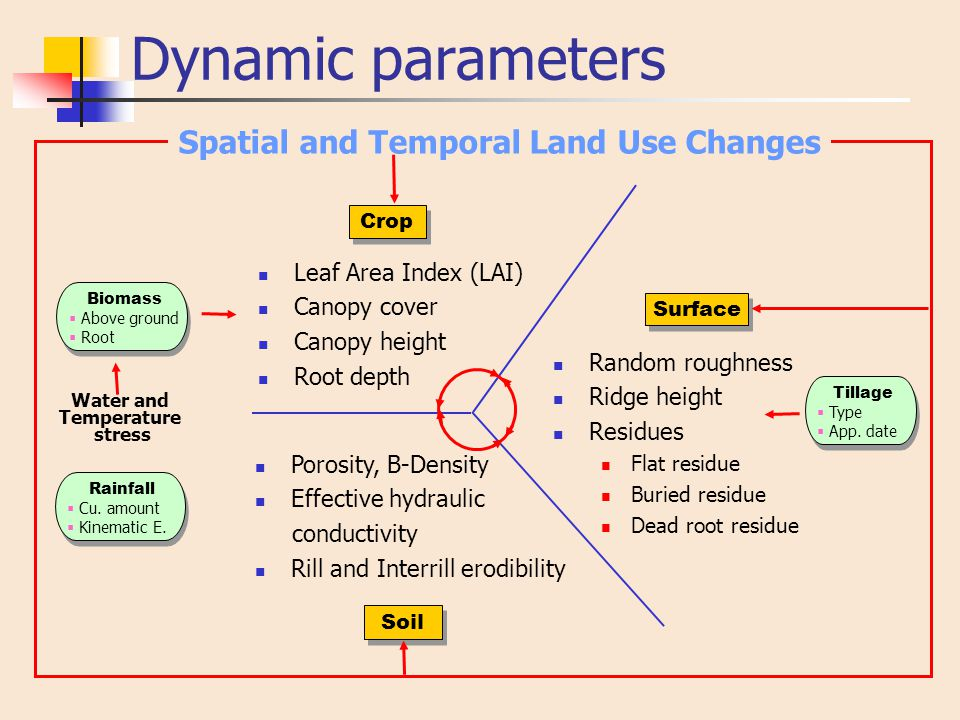Dynamic parameters Leaf Area Index (LAI) Canopy cover Canopy height Root depth Crop Surface Soil Water and Temperature stress Biomass  Above ground 