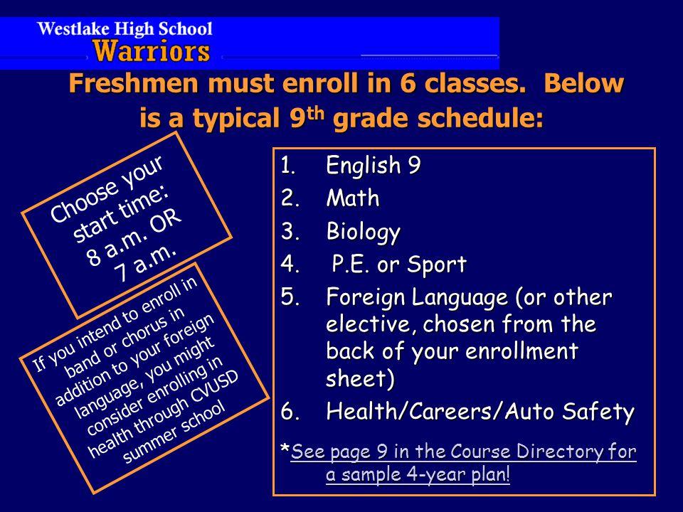 Freshmen must enroll in 6 classes.