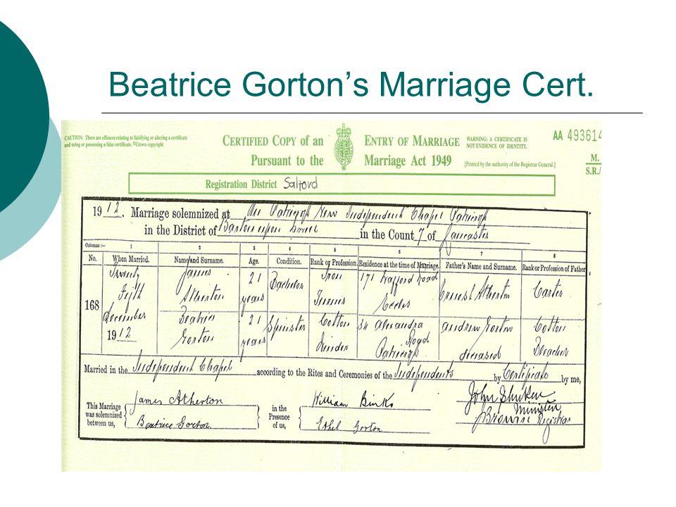 Beatrice Gorton's Marriage Cert.