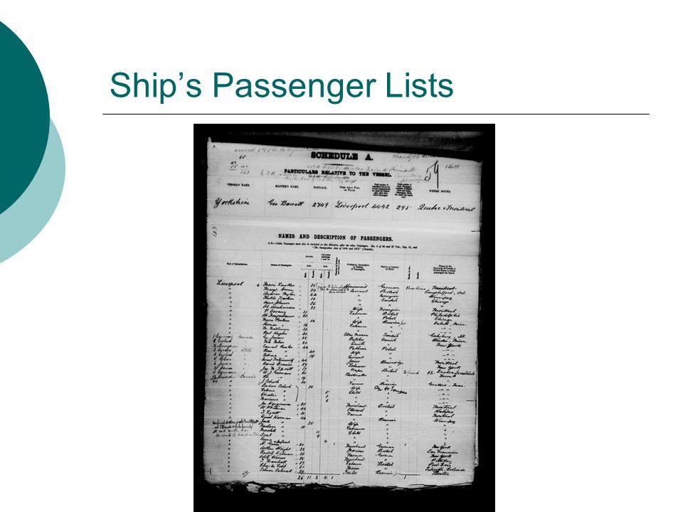 Ship's Passenger Lists