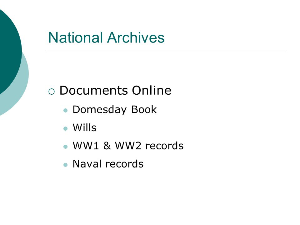 National Archives  Documents Online Domesday Book Wills WW1 & WW2 records Naval records