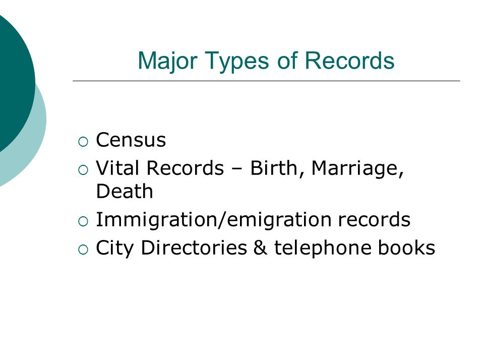 Major Types of Records  Census  Vital Records – Birth, Marriage, Death  Immigration/emigration records  City Directories & telephone books