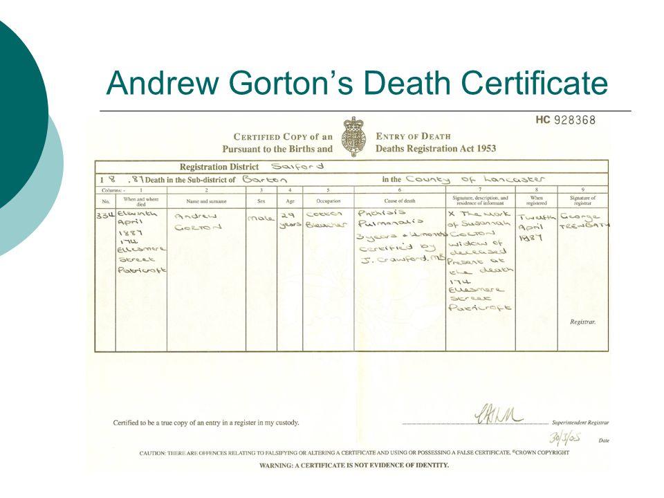 Andrew Gorton's Death Certificate