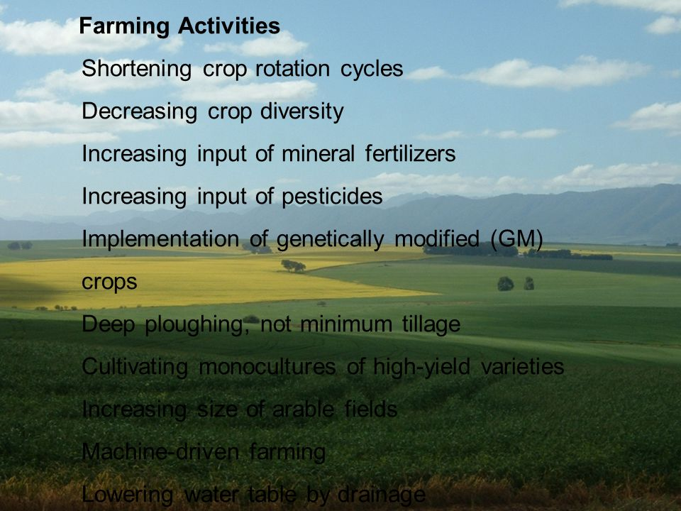 Farming Activities Shortening crop rotation cycles Decreasing crop diversity Increasing input of mineral fertilizers Increasing input of pesticides Implementation of genetically modified (GM) crops Deep ploughing, not minimum tillage Cultivating monocultures of high-yield varieties Increasing size of arable fields Machine-driven farming Lowering water table by drainage