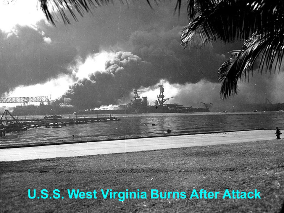 U.S.S. West Virginia Burns After Attack