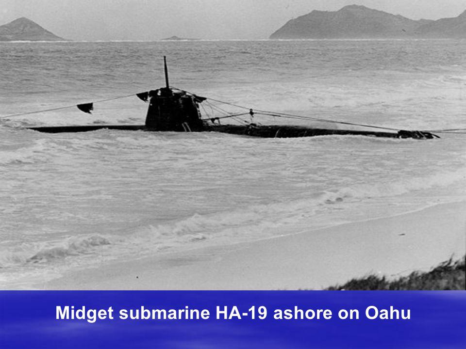 Midget submarine HA-19 ashore on Oahu