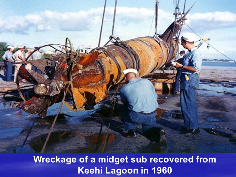 Wreckage of a midget sub recovered from Keehi Lagoon in 1960