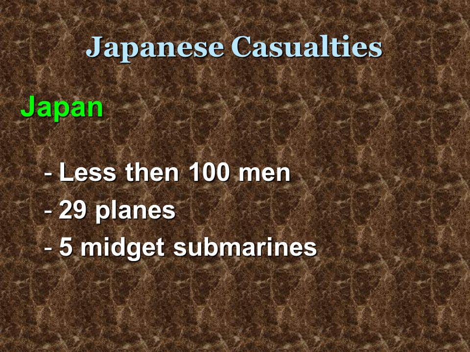 Japanese Casualties Japan -L-L-L-Less then 100 men -2-2-2-29 planes -5-5-5-5 midget submarines