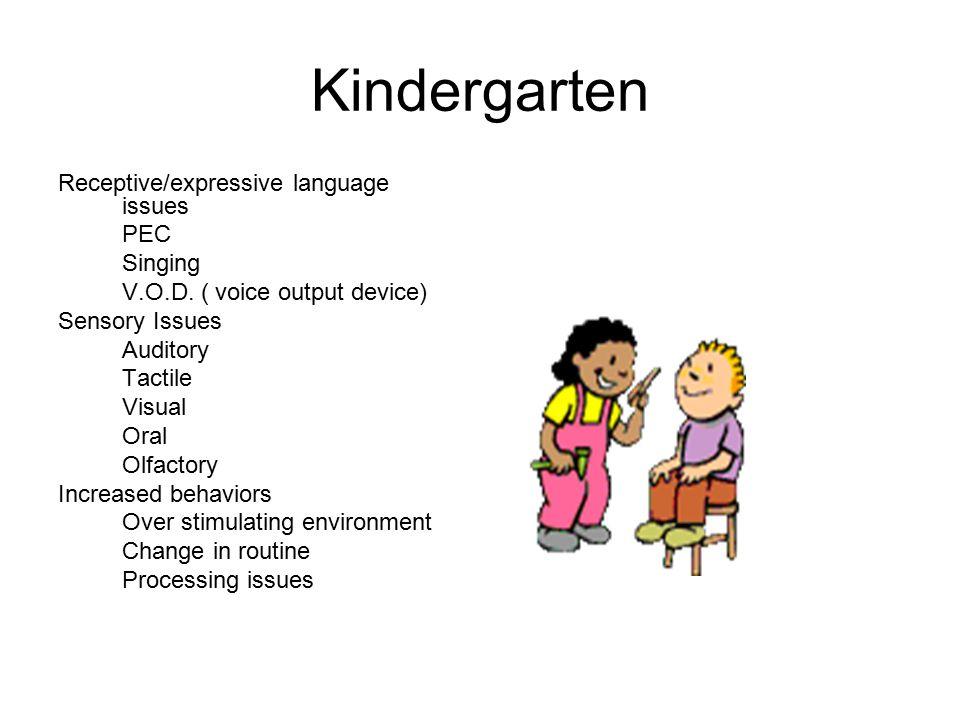 Kindergarten Receptive/expressive language issues PEC Singing V.O.D.