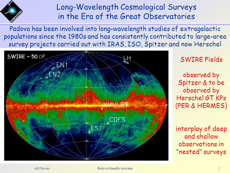 ASI ReviewPadova Scientific Activities2 Long-Wavelength Cosmological Surveys in the Era of the Great Observatories Padova has been involved into long-