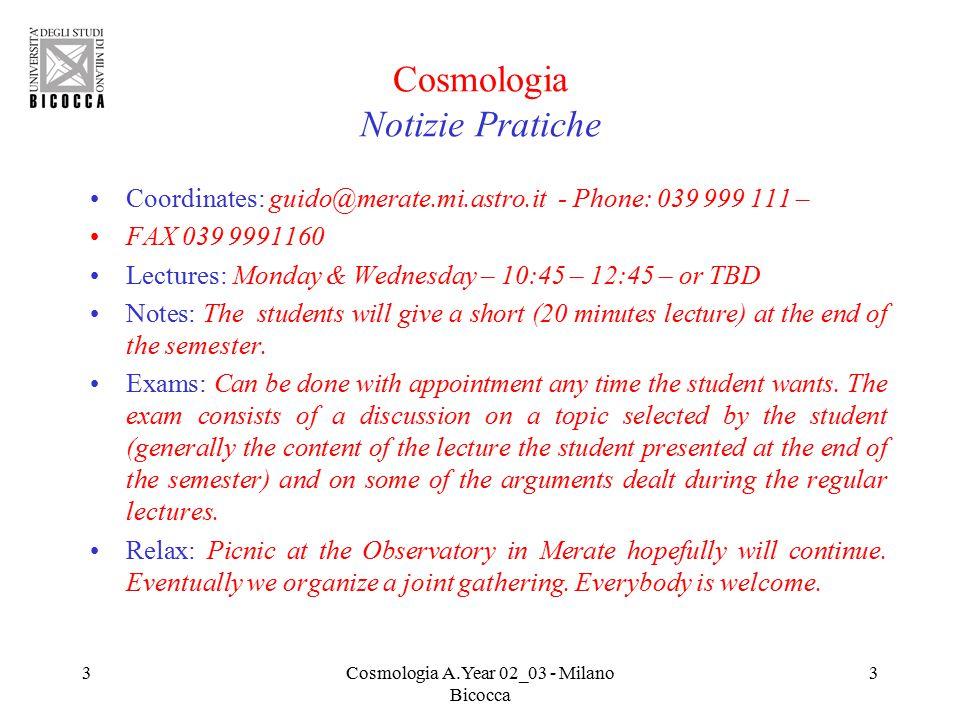 24Cosmologia A.Year 02_03 - Milano Bicocca 24