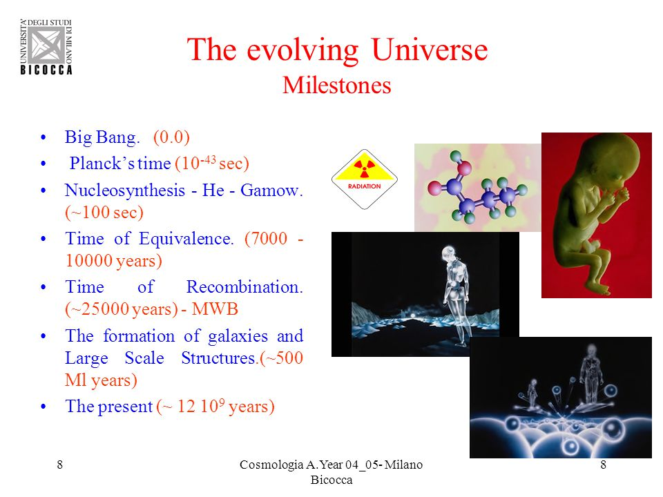 8Cosmologia A.Year 04_05- Milano Bicocca 8 The evolving Universe Milestones Big Bang. (0.0) Planck's time (10 -43 sec) Nucleosynthesis - He - Gamow. (