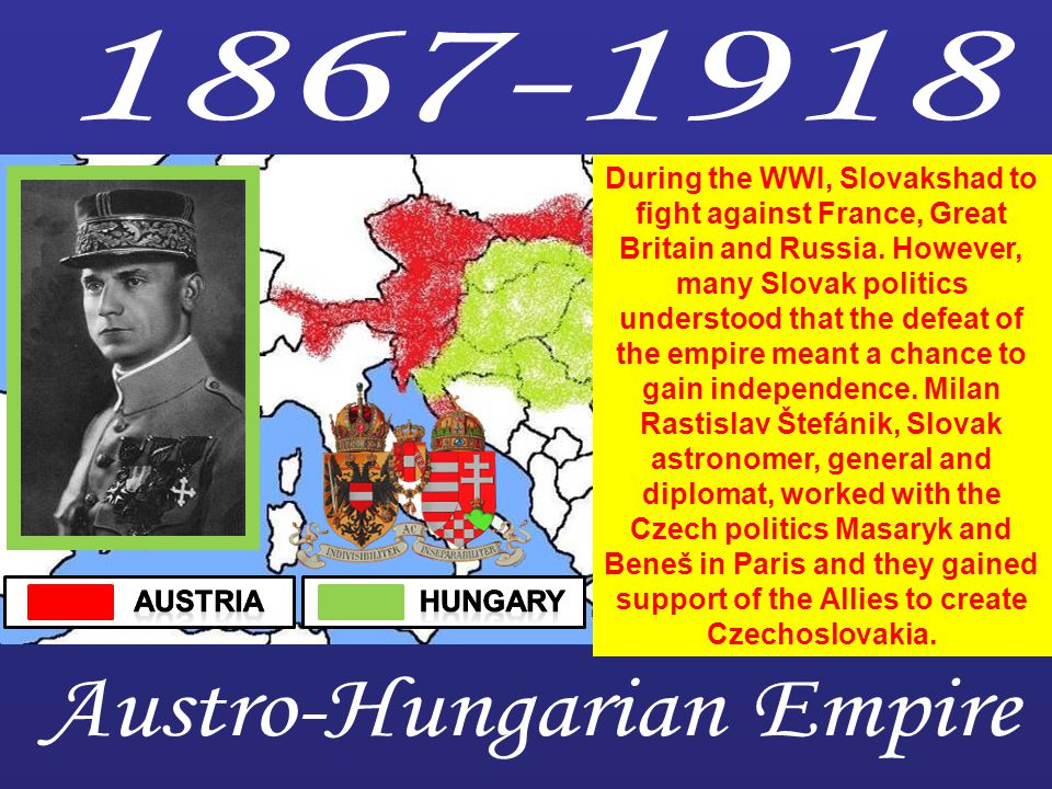 During the WWI, Slovakshad to fight against France, Great Britain and Russia.