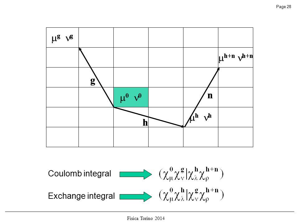 Fisica Torino 2014 Page 28  g g  h+n h+n  0 0  h h g h n  g g  h+n h+n  0 0  h h g h n Coulomb integral Exchange integral