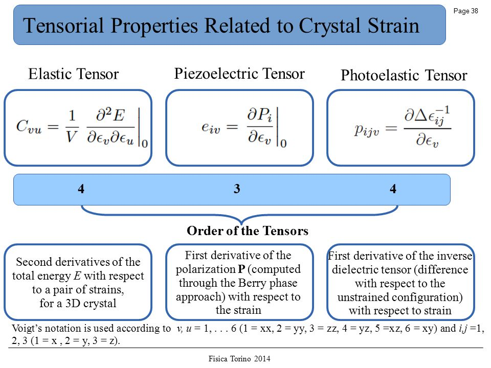 Fisica Torino 2014 Page 38 Tensorial Properties Related to Crystal Strain Elastic Tensor Piezoelectric Tensor Photoelastic Tensor Order of the Tensors First derivative of the inverse dielectric tensor (difference with respect to the unstrained configuration) with respect to strain First derivative of the polarization P (computed through the Berry phase approach) with respect to the strain Second derivatives of the total energy E with respect to a pair of strains, for a 3D crystal Voigt's notation is used according to v, u = 1,...