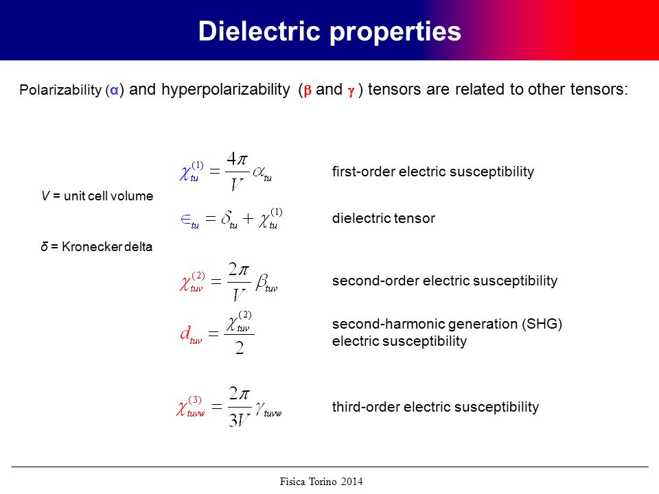 Fisica Torino 2014 Page 63 Dielectric properties Polarizability (α ) and hyperpolarizability (  and  ) tensors are related to other tensors: first-order electric susceptibility dielectric tensor second-order electric susceptibility third-order electric susceptibility second-harmonic generation (SHG) electric susceptibility V = unit cell volume δ = Kronecker delta