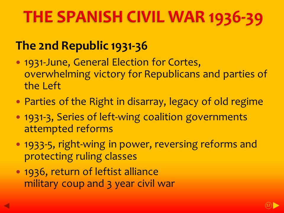 The 2nd Republic 1931-36 1931-June, General Election for Cortes, overwhelming victory for Republicans and parties of the Left Parties of the Right in disarray, legacy of old regime 1931-3, Series of left-wing coalition governments attempted reforms 1933-5, right-wing in power, reversing reforms and protecting ruling classes 1936, return of leftist alliance military coup and 3 year civil war 12