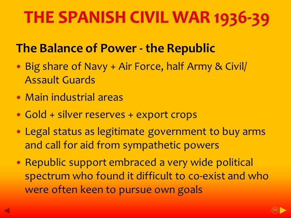 The Balance of Power - the Republic Big share of Navy + Air Force, half Army & Civil/ Assault Guards Main industrial areas Gold + silver reserves + export crops Legal status as legitimate government to buy arms and call for aid from sympathetic powers Republic support embraced a very wide political spectrum who found it difficult to co-exist and who were often keen to pursue own goals 19