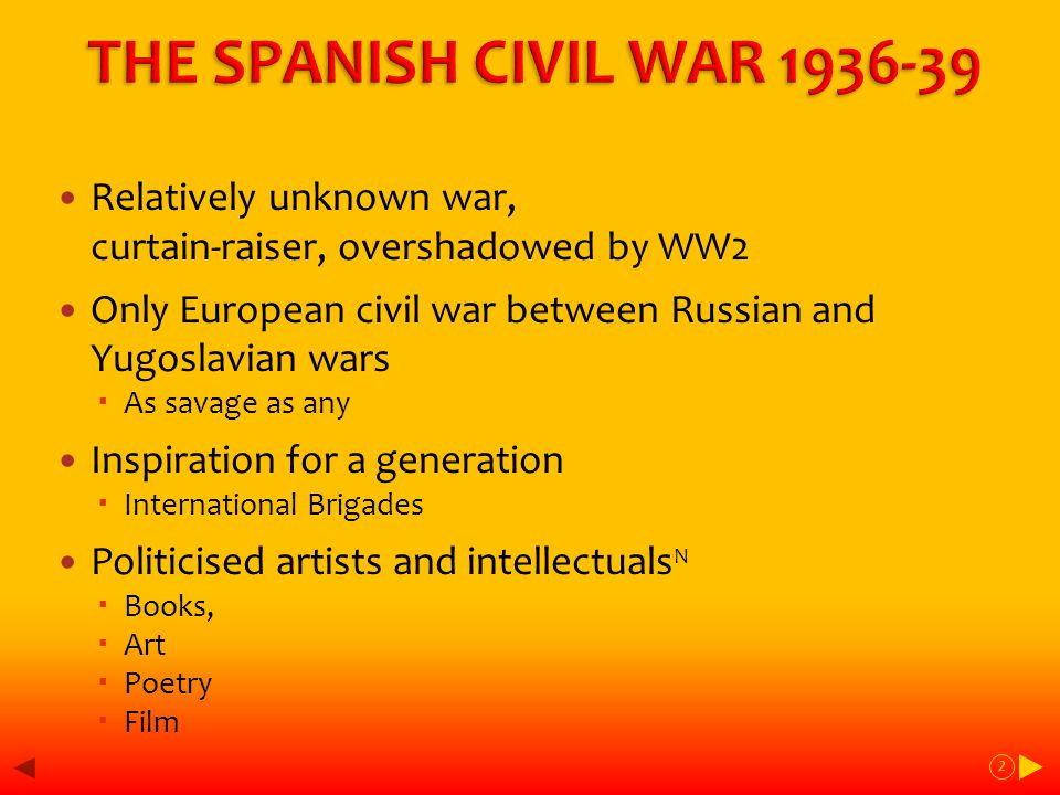 Main Events of the War, 1938-9 Feb - Nationalists recapture Teruel April - Rep govt changes, Nationalists reach Mediterranean coast cutting Republican zone in two July-Nov - Battle of Ebro – final, epic Republican fling turns into defeat Dec 38-Feb39 – Nationalists advance into final Republican stronghold, Catalonia March - fall of Madrid + central Spain April 1st - Franco declares end of war 33