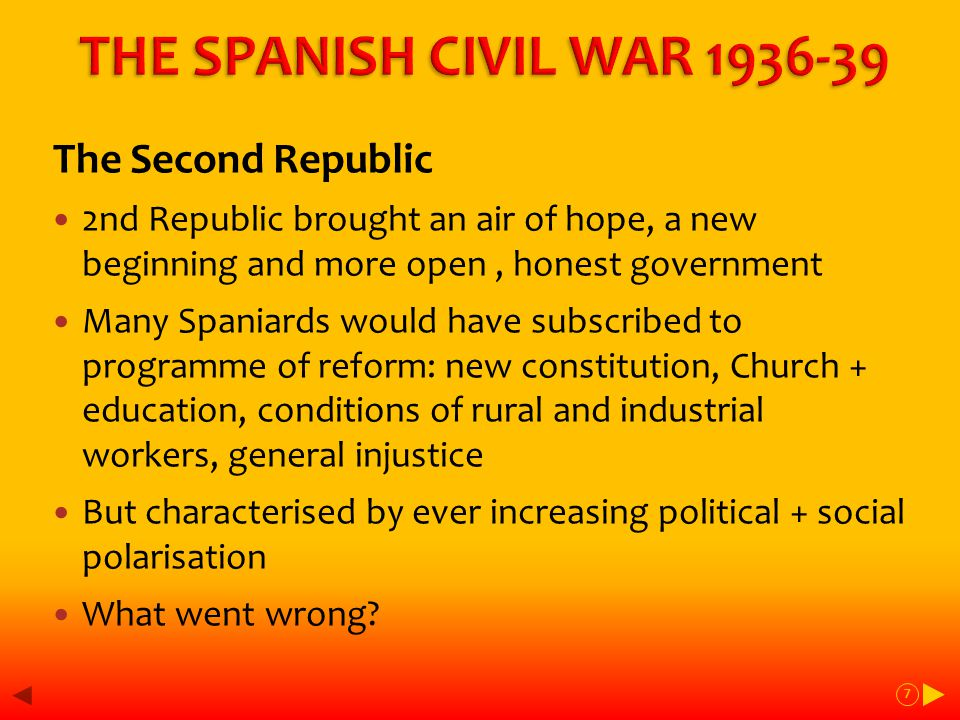 The 2 nd Republic – forces and influences on the Right – Tradition + vested interest The Monarchy Landlords + and landowners Industrial wealth The Catholic Church - education The Armed Forces – order+ centralisation Carlism - 19thC reactionary movement Fascism - 20thC movement incorporating violence + social rhetoric 8