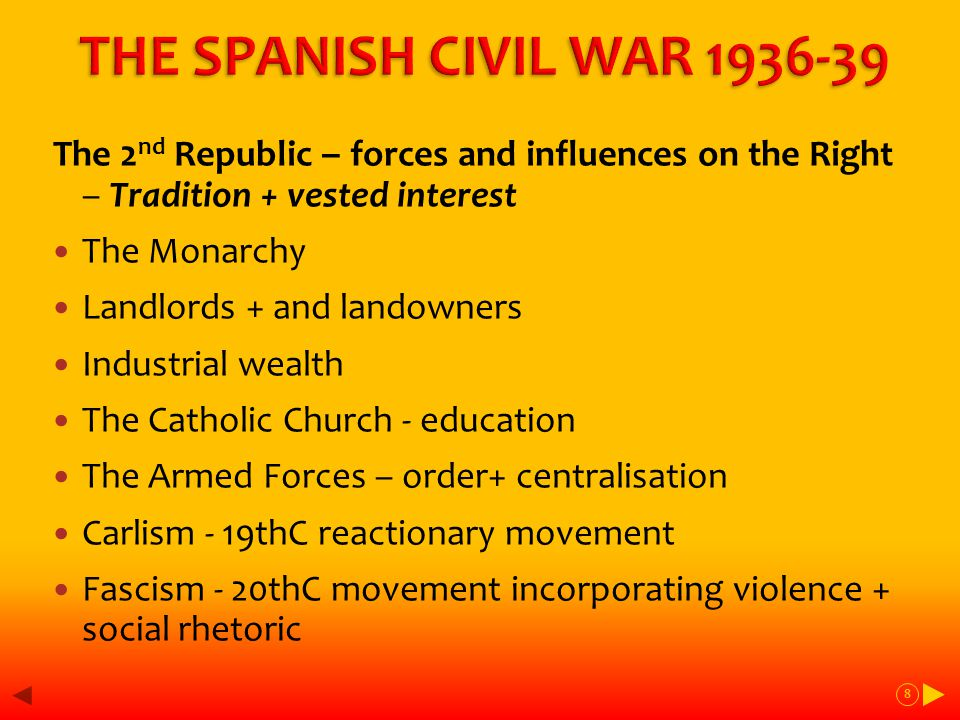 Parties of the Right CEDA - Confederation of right-wing Catholic groups, some govt posts 1933-5 JONS - fascist group, fused with other fascist party, Falange in 1934 FET - single party created by Franco in 1937 9