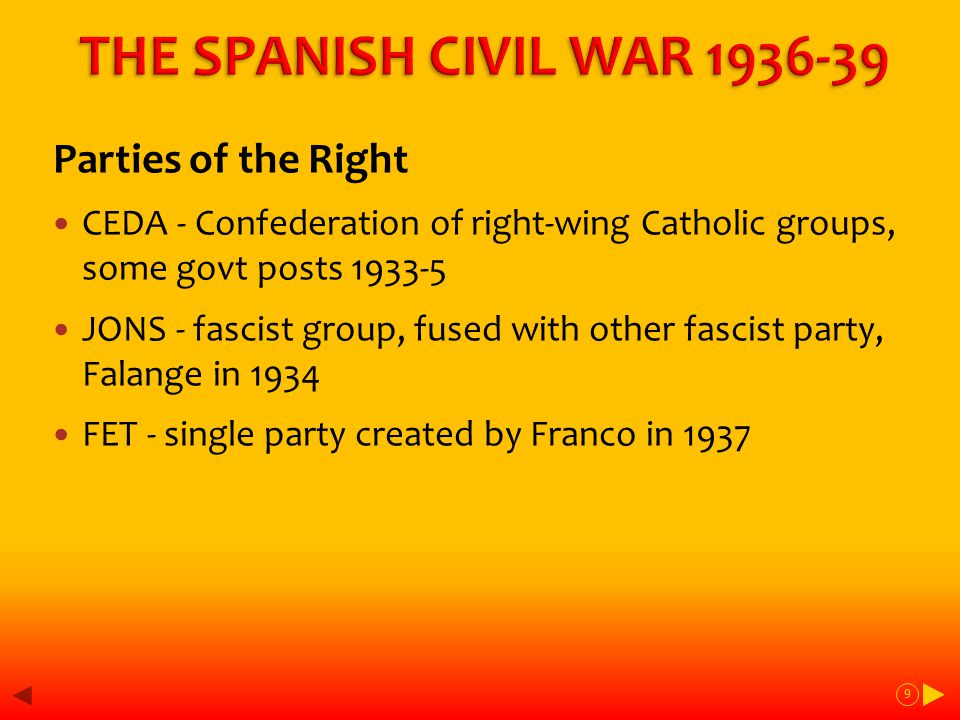 The 2 nd Republic - forces and influences on the Left - social justice + progress The Republic Land reform, tenant farmers + workers Industrial workers + unions Anti-clericalism – freedom of thought Regional autonomy, Catalonia + Basque Civil rights + womens' rights, freedom of the press The Left were a strong force in opposition but too fragmented in victory 10
