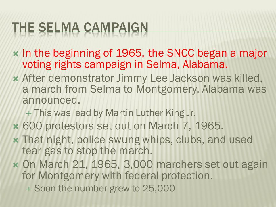  In the beginning of 1965, the SNCC began a major voting rights campaign in Selma, Alabama.  After demonstrator Jimmy Lee Jackson was killed, a marc
