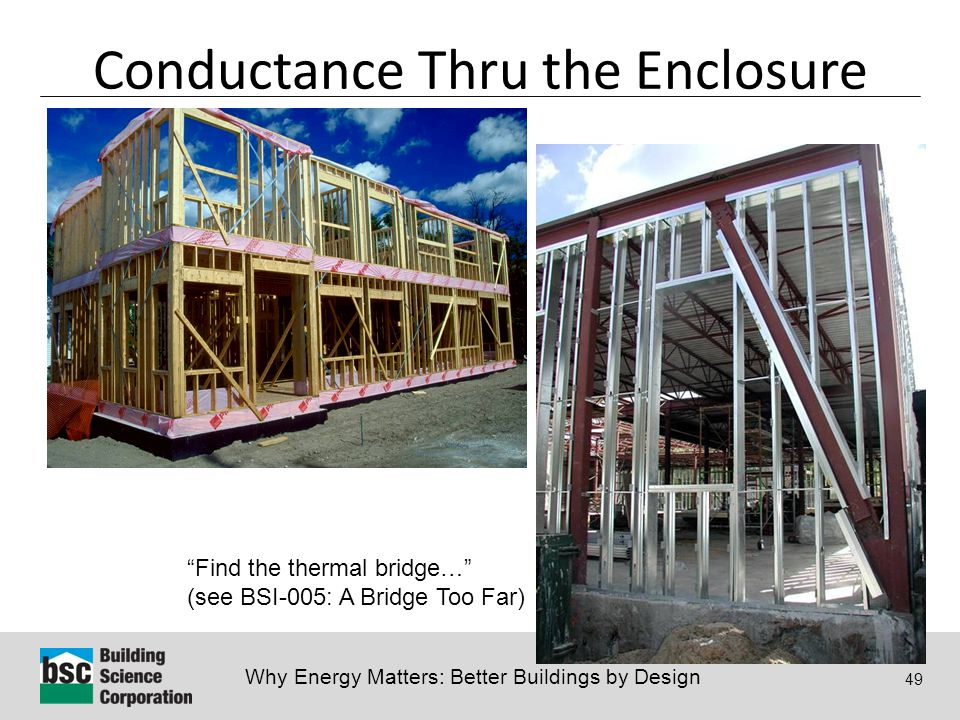 """Why Energy Matters: Better Buildings by Design 49 Conductance Thru the Enclosure """"Find the thermal bridge…"""" (see BSI-005: A Bridge Too Far)"""