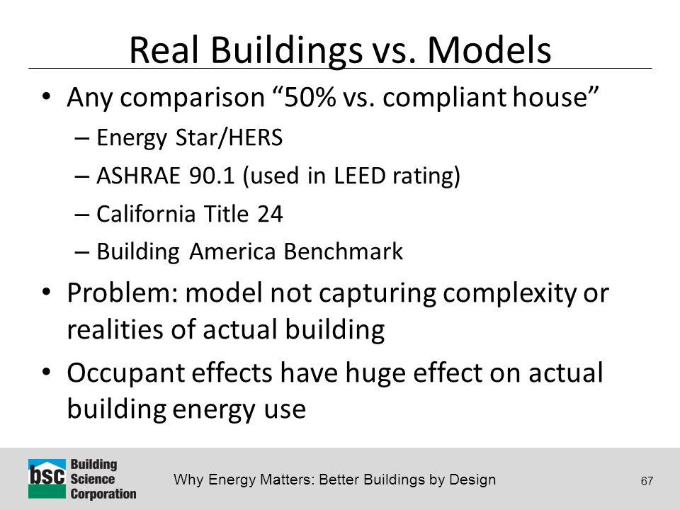 Why Energy Matters: Better Buildings by Design 67 Real Buildings vs.