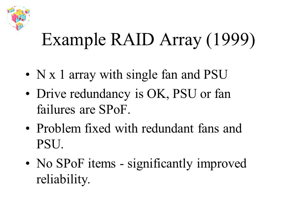 Example RAID Array (1999) N x 1 array with single fan and PSU Drive redundancy is OK, PSU or fan failures are SPoF. Problem fixed with redundant fans