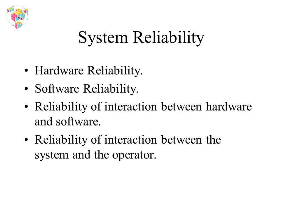 System Reliability Hardware Reliability. Software Reliability. Reliability of interaction between hardware and software. Reliability of interaction be