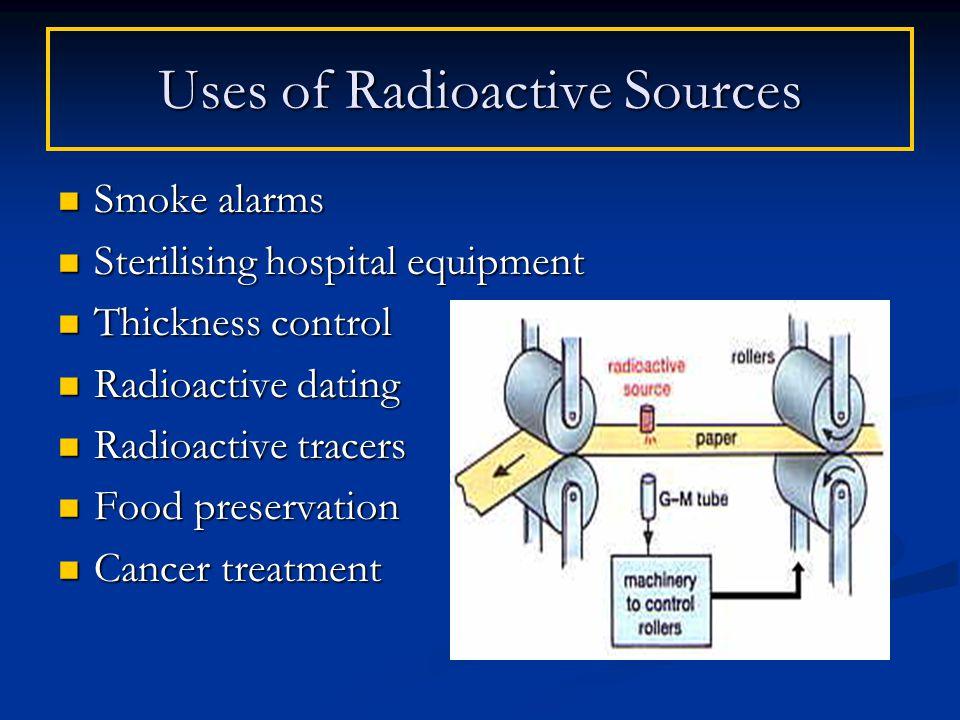Smoke alarms Smoke alarms Sterilising hospital equipment Sterilising hospital equipment Thickness control Thickness control Radioactive dating Radioac