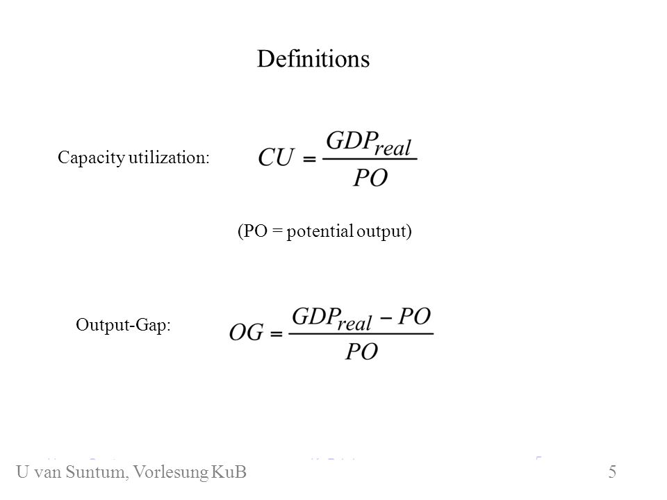 Definitions KuB 1.1 Capacity utilization: Output-Gap: (PO = potential output) U.