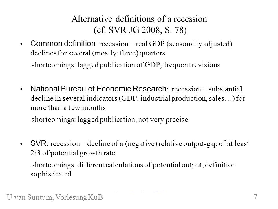 Alternative definitions of a recession (cf. SVR JG 2008, S.