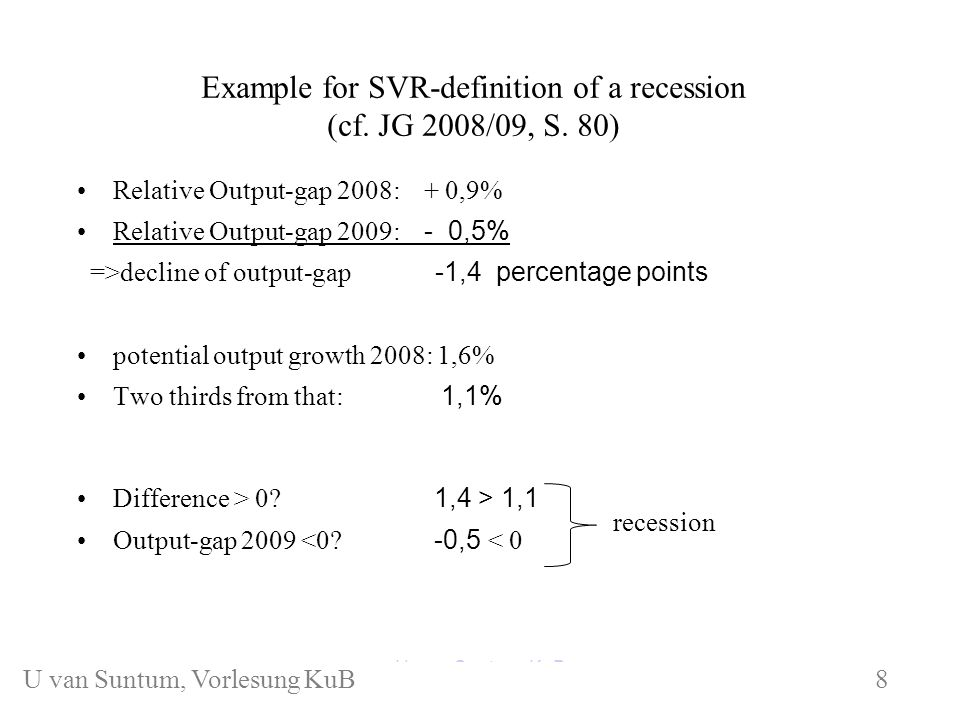 Example for SVR-definition of a recession (cf. JG 2008/09, S.