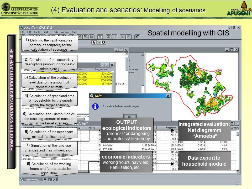 Spatial modelling Non-spatial modelling (4) Evaluation and scenarios: Modelling of scenarios