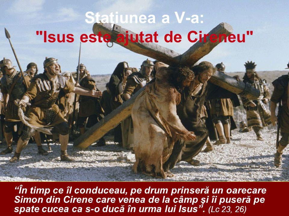 Staţiunea a V-a: Isus este ajutat de Cireneu În timp ce îl conduceau, pe drum prinseră un oarecare Simon din Cirene care venea de la câmp şi îi puseră pe spate cucea ca s-o ducă în urma lui Isus .
