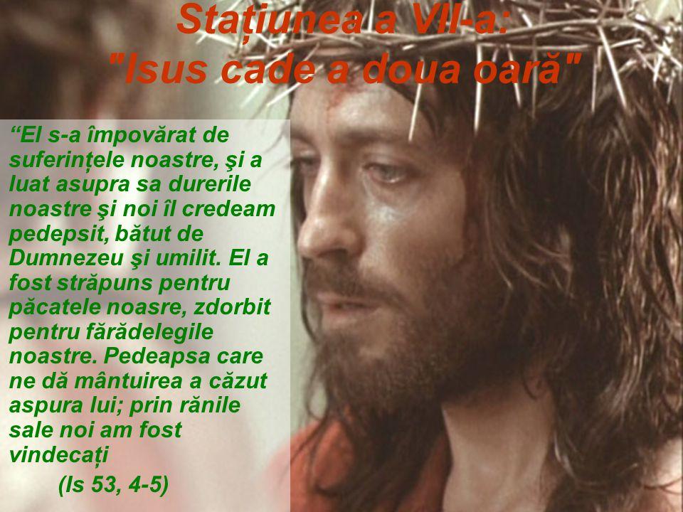 Staţiunea a VII-a: Isus cade a doua oară El s-a împovărat de suferinţele noastre, şi a luat asupra sa durerile noastre şi noi îl credeam pedepsit, bătut de Dumnezeu şi umilit.
