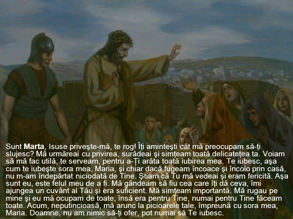 Sunt Marta, Isuse priveşte-mă, te rog. Îţi aminteşti cât mă preocupam să-ţi slujesc.