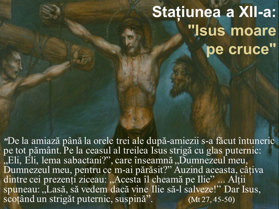 Staţiunea a XII-a: Isus moare pe cruce De la amiază până la orele trei ale după-amiezii s-a făcut întuneric pe tot pământ.
