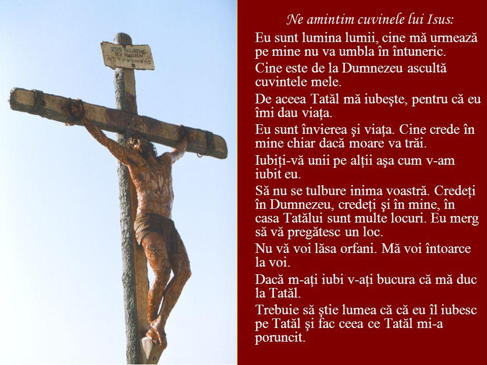 Ne amintim cuvinele lui Isus: Eu sunt lumina lumii, cine mă urmează pe mine nu va umbla în întuneric.