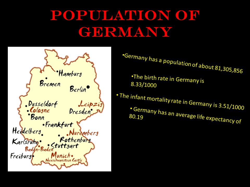 Population of Germany Germany has a population of about 81,305,856 The birth rate in Germany is 8.33/1000 The infant mortality rate in Germany is 3.51/1000 Germany has an average life expectancy of 80.19