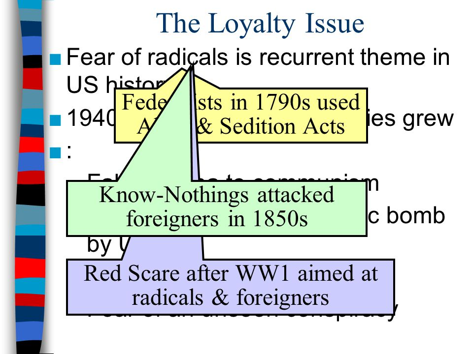 The Loyalty Issue ■Fear of radicals is recurrent theme in US history ■1940s & 50s: fears of Commies grew ■: –Fall of China to communism –Successful testing of atomic bomb by USSR –Discovery of American spies –Fear of an unseen conspiracy Federalists in 1790s used Alien & Sedition Acts Red Scare after WW1 aimed at radicals & foreigners Know-Nothings attacked foreigners in 1850s