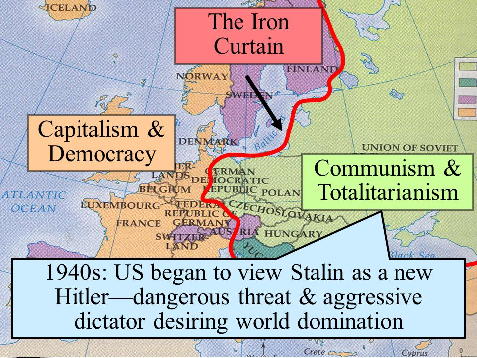 Capitalism & Democracy Communism & Totalitarianism The Iron Curtain 1940s: US began to view Stalin as a new Hitler—dangerous threat & aggressive dictator desiring world domination