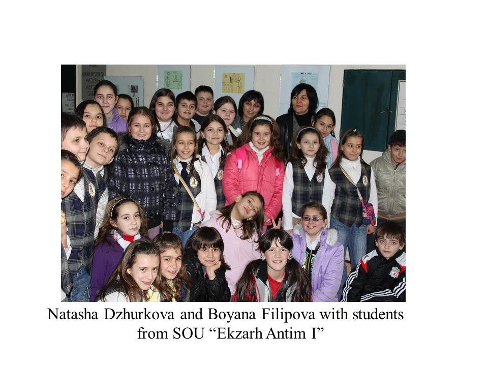 Natasha Dzhurkova and Boyana Filipova with students from SOU Ekzarh Antim I